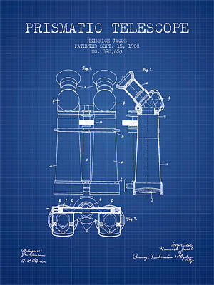 Astronomical Digital Art - Prismatic Telescope Patent From 1908 - Blueprint by Aged Pixel