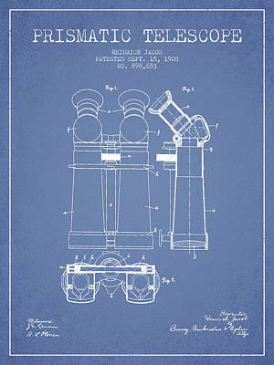 Astronomical Digital Art - Prismatic Telescope Patent From 1908 - Light Blue by Aged Pixel