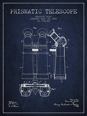 Astronomical Digital Art - Prismatic Telescope Patent From 1908 - Navy Blue by Aged Pixel