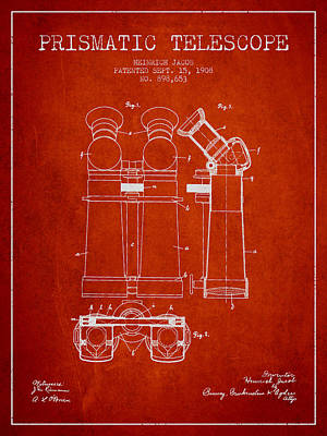 Astronomical Digital Art - Prismatic Telescope Patent From 1908 - Red by Aged Pixel
