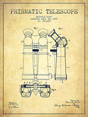 Astronomical Digital Art - Prismatic Telescope Patent From 1908 - Vintage by Aged Pixel