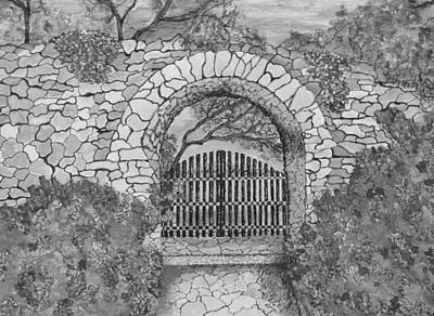 Drawing - Private Garden At Sunset Black And White by Ashley Goforth