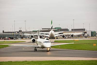 Jet Photograph - Private Jet At Manchester Airport by Ashley Cooper