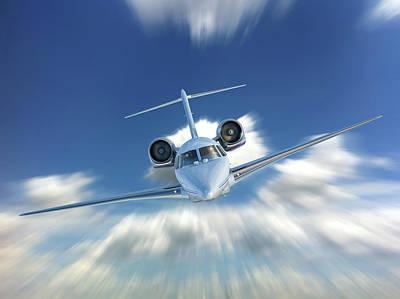 Private Jet In The Clouds Art Print by Leonello Calvetti