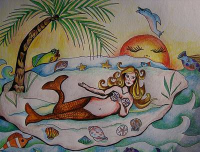 Art Print featuring the drawing Private Paradise by Leslie Manley