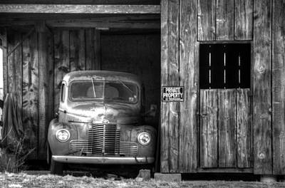 Photograph - Private Parking Black And White by Ken Smith