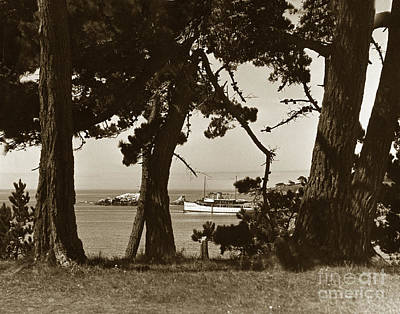 Photograph - Private Yacht In Stillwater Cove Pebble Beach Circa 1940 by California Views Archives Mr Pat Hathaway Archives
