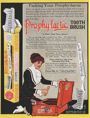 Nineteen-tens Drawing - Pro-phy-lac-tic 1910s Usa Toothbrushes by The Advertising Archives