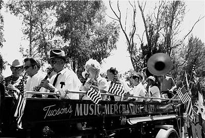 Musicians Royalty Free Images - Pro-Viet Nam War march Beavers Band Box musicians Tucson Arizona 1970 black and white Royalty-Free Image by David Lee Guss