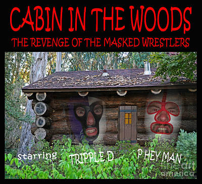 Cabin Window Digital Art - Pro Wrestling Horror Movie Cabin In The Woods by Jim Fitzpatrick