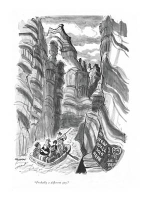 Grand Canyon Drawing - Probably A Different Guy by James Stevenson
