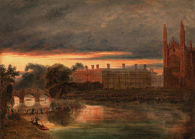 Cambridge Painting - Procession Of Boats On The River Cam Below Clare College by Litz Collection