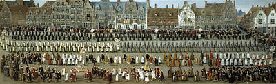 Brussels Painting - Procession Of Our Lady Of Sablon From The Ommegang In Brussels by Denis van Alsloot