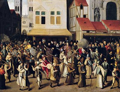 Ile De La Cite Photograph - Procession Of The Holy League In 1590 Oil On Panel by Francois Bunel