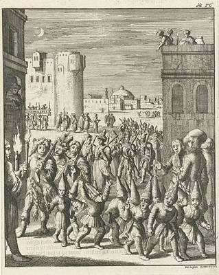 Aleppo Drawing - Procession Of The Shoemaker Guild At Aleppo by Jan Luyken