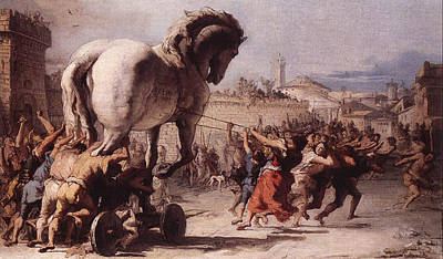 Trojan Painting - Procession Of The Trojan Horse  by Giovanni Tiepolo
