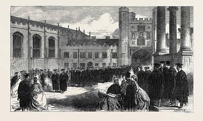 Procession To The Chapel Trinity College Cambridge Uk 1866 Art Print