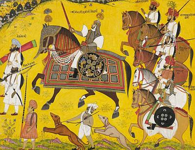 Hunting Party Painting - Processional Portrait Of Prince Bhawani Sing Of Sitamau by Pyara Singh