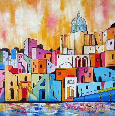 Painting - Procida Island In The South Of Italy by Roberto Gagliardi