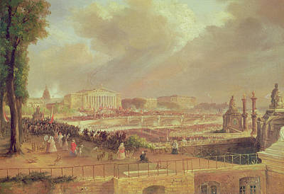 Proclamation Of The Second French Republic, Place De La Concorde, February 24, 1848 Oil On Canvas Art Print by Jean-Jacques Champin