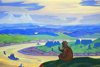 Procopius The Righteous Praying For The Unknown Travellers Art Print by Nicholas Roerich