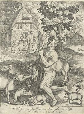 Prodigal Son As A Swineherd, Nicolaes De Bruyn Art Print by Nicolaes De Bruyn