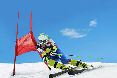 Ski Resort Photograph - Professional Female Ski Competitor At by Technotr
