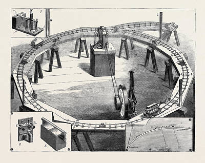 Magneto Drawing - Professors Ayrton And Perrys New Electric Railway by English School