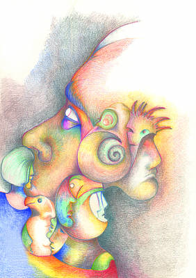 Psychedelic Drawing - Profile by Bodhi