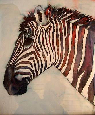 Profile Of Zebra Painting - Profile In Stripes by Karen McDonald