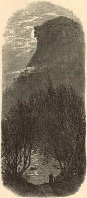 Franconia Notch Painting - Profile Mountain New Hampshire 1872 Engraving by Antique Engravings