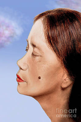 Profile Drawing - Profile Of A Filipina Beauty With A Mole On Her Cheek Altered Version by Jim Fitzpatrick
