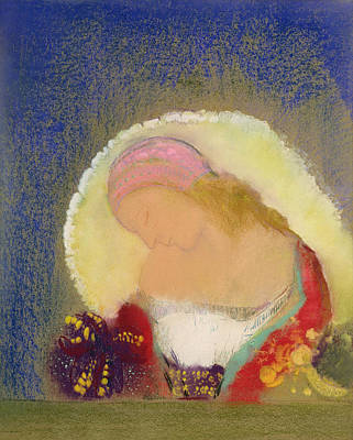 Profile Of A Girl With Flowers Art Print by Odilon Redon