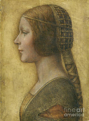 Female Portrait Painting - Profile Of A Young Fiancee by Leonardo Da Vinci
