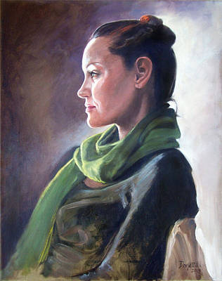 Painting - Profile Of Model With Crescent Light by Kathryn Donatelli
