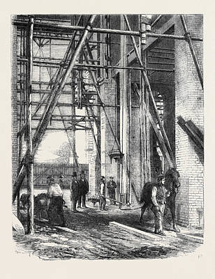 Progress Of The Great Exhibition Building Hoisting Apparatus Art Print