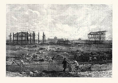 Progress Of The Paris Exhibition Building In The Champ De Art Print by French School