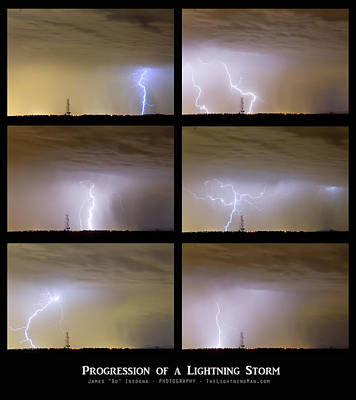 Progression Of A Lightning Storm Art Print by James BO  Insogna