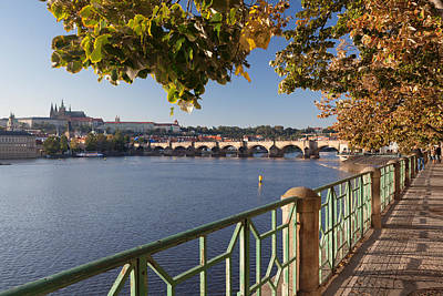 St Charles Bridge Photograph - Promenade Along Vitava River by Panoramic Images
