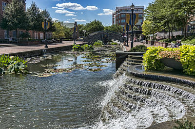 Photograph - Promenade And Waterfall In Carroll Creek Park In Frederick Mary by William Kuta