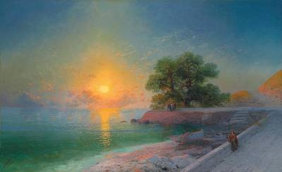 Lights In The Sky Painting - Promenade At Sunset by Ivan Konstantinovich Aivazovsky
