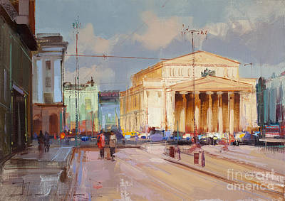 Moscow Wall Art - Painting - Promenade At Theater Square. Theatre Way by Alexey Shalaev