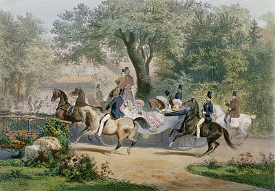 Horse Drawn Carriage Painting - Promenade Au Bois by Eugene Charles Francois Guerard