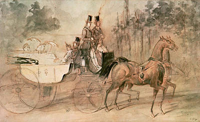 Horse-drawn Painting - Promenade Au Bois  by Constantin Guys