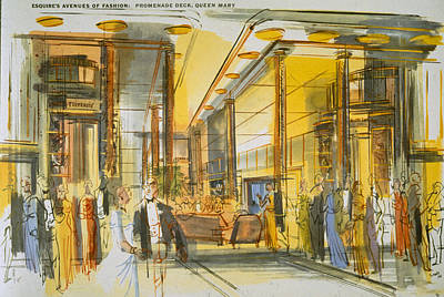 Liner Drawing - Promenade Deck Aboard The Queen Mary by English School