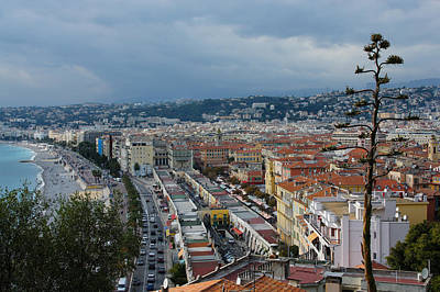 Cours Saleya Photograph - Promenade Des Anglais And Cours Saleya From Above - Nice France French Riviera by Georgia Mizuleva