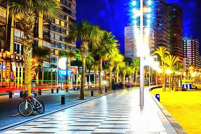 Photograph - Promenade In Benidorm Spain At Night by Mick Flynn