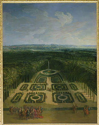 Promenade Of Louis Xiv 1638-1715 In The Gardens Of The Grand Trianon, 1713 Oil On Canvas Art Print by Charles Chastelain