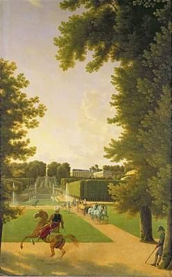 Marie-louise Photograph - Promenade Of Napoleon I 1769-1821 And Marie-louise 1791-1847 In The Parc De Saint-cloud In 1810 Oil by Jean Bidauld