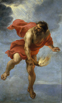 Prometheus Painting - Prometheus Carrying Fire by Jan Cossiers